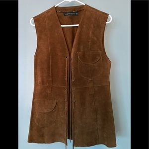 Zara 100% Suede Open Front Vest